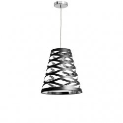 1 Light Cut Out Pendant with Black on Silver Shade