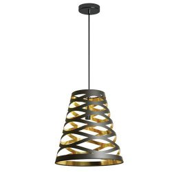 1 Light Pendant with Black on Gold Shade